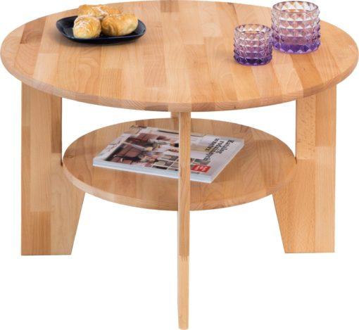 Okragły stolik z drewna bukowego, z półką