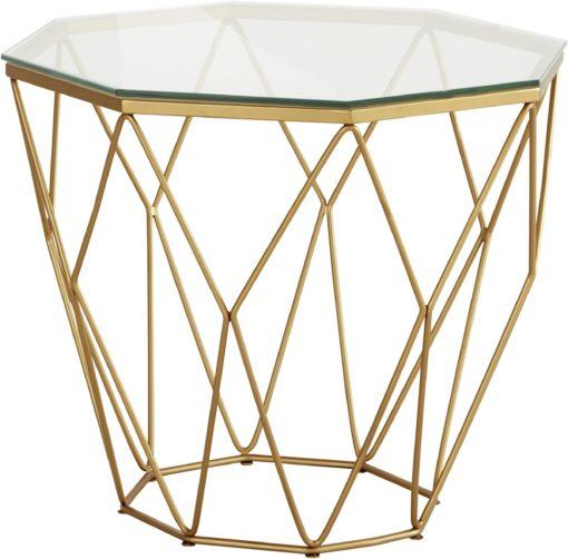 Ekstarwagancki, złoty stolik ze szklanym blatem