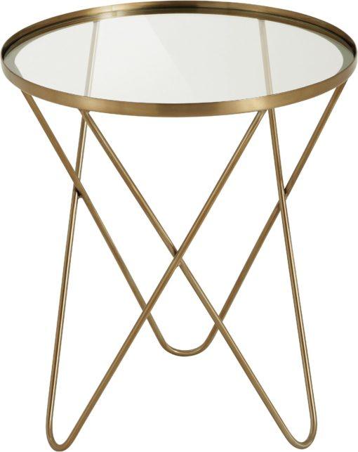 Dekoracyjny, złoty stolik o ciekawym wyglądzie