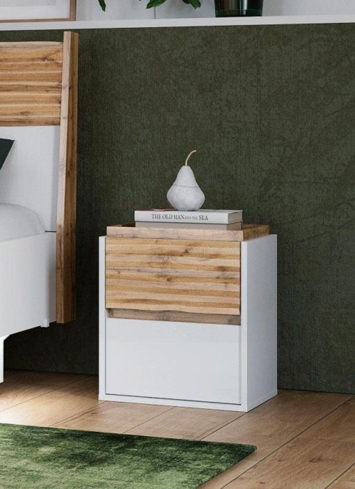 Interesująca szafka nocna, kolor biel/dąb barwiony