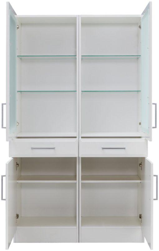 Biała witryna z przeszklonymi drzwiami i szufladami