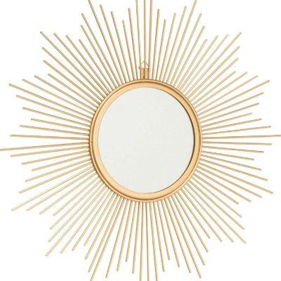 Dekoracyjne, złote lustro w kształcie słońca