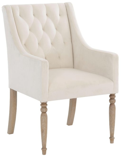 Fotel z toczonymi nogami i pikowanym oparciem, kremowy