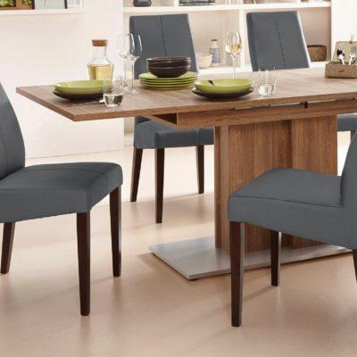 Eleganckie krzesła tapicerowane szarą sztuczną skórą - 2 sztuki