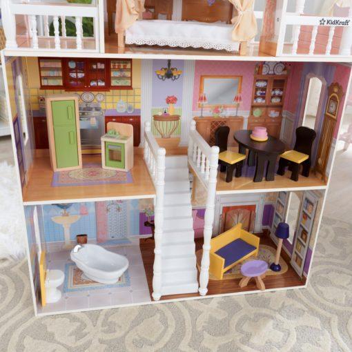 Duży domek dla lalek, z wyposażeniem, 4-piętrowy, KidKraft