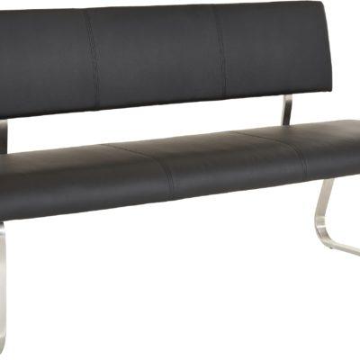 Nowoczesna ławka ze sztucznej skóry, 155 cm