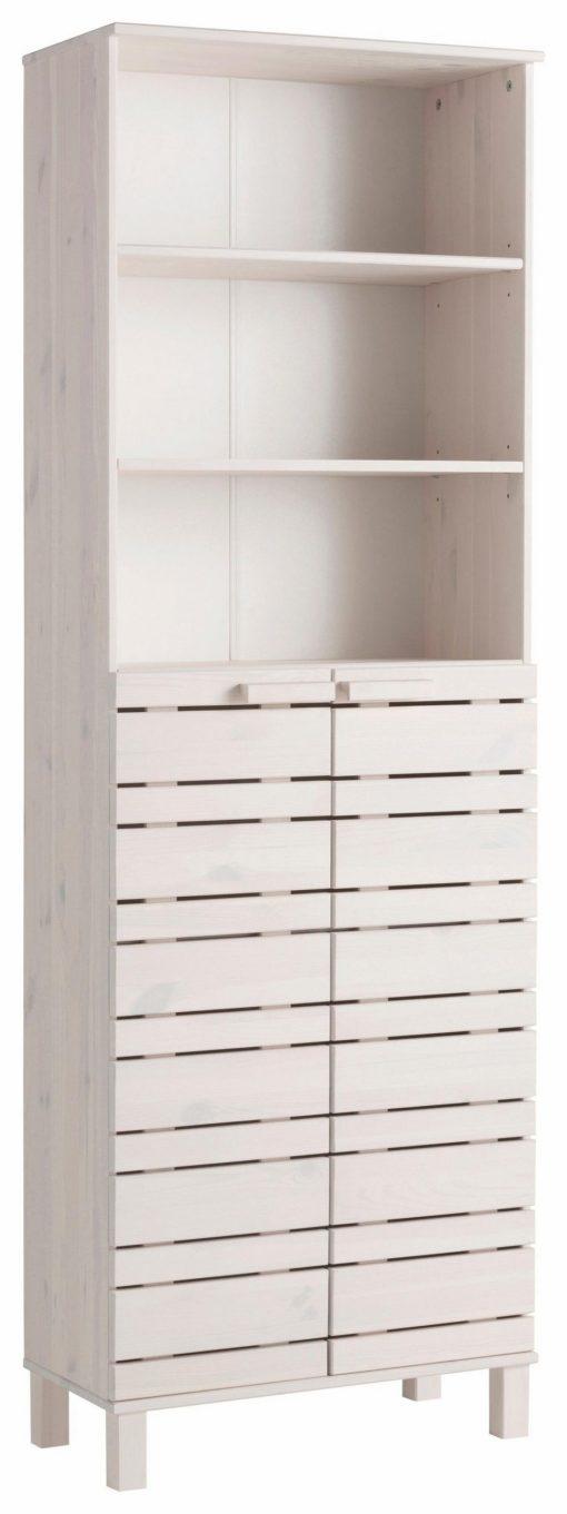 Wysoka szafka łazienkowa, sosnowa, biała