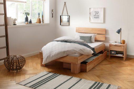 Bukowe łóżko w nowoczesnym stylu 90x200 cm