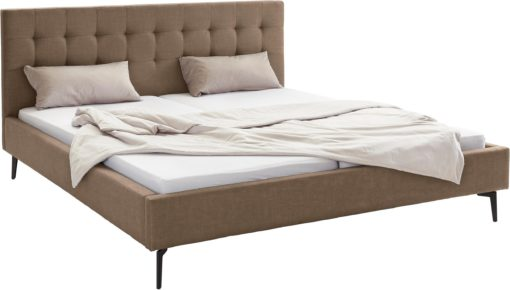 Szlachetne, tapicerowane łóżko, brąz 180x200 cm