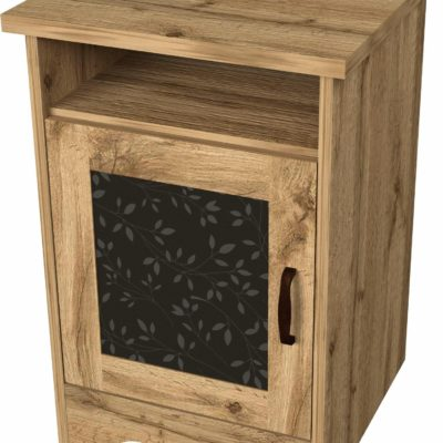 Ciekawa szafka nocna z nadrukiem na drzwiach