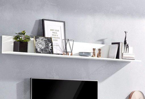 Elegancka, biała półka ścienna 200 cm, matowa