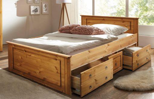 Rama łóżka wykonana z sosny 140x200 cm