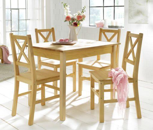 Sosnowy zestaw do jadalni: stół i 4 krzesła