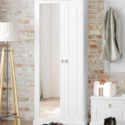 Dwudrzwiowa, sosnowa szafa z lustrem, biała