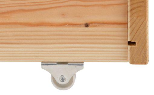 Sosnowa szuflada pod łóżko na kółkach