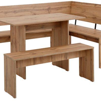 Zestaw mebli kuchennych: stół, ławka i ławka narożna