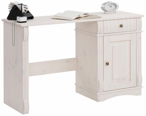 Praktyczne, sosnowe biurko z dekoracyjnymi frontami