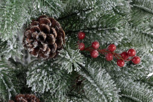Sztuczna choinka ze śniegiem, szyszkami i jagodami, 90 cm