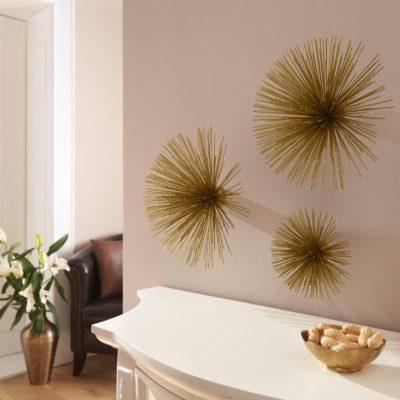 Złota dekoracja na ścianę lub stół, 3 części