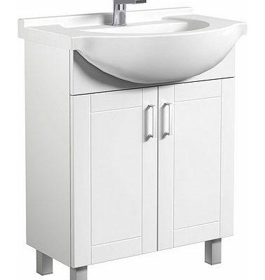 Stojąca szafka łazienkowa z umywalką, biały połysk