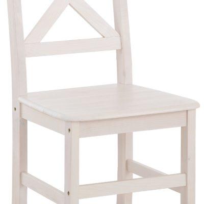 Zestaw 2 sosnowe krzesła, białe, krzyżowe oparcie