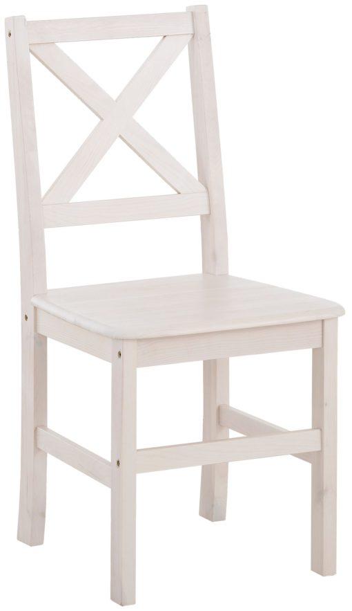 Zestaw: 2 sosnowych krzeseł, białe, krzyżowe oparcie