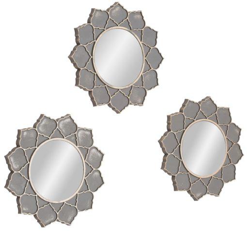 Zestaw trzech dekoracyjnych luster przypominających kwiaty