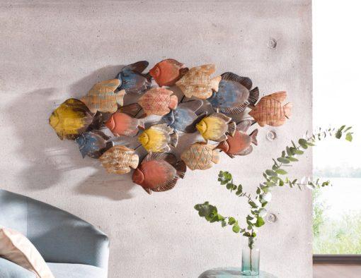 Unikalna dekoracja ścienna z metalu i drewna