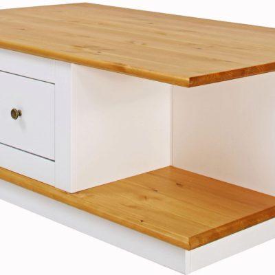Ekstrawagancki stolik z szufladami i schowkami, biel-wiśnia