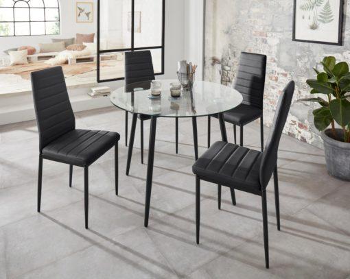 Zestaw do jadalni: okrągły, szklany stół i 4 czarne krzesła