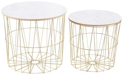 Zestaw dwóch stolików, metalowa, złota rama, styl galmour