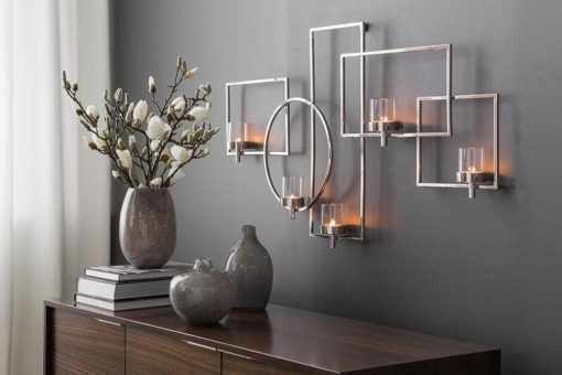 Świecznik ze stali na ścianę, w nowoczesnym stylu