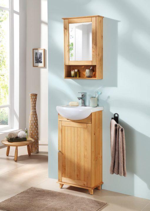 Zgrabna, sosnowa szafka łazienkowa z lustrzanym frontem