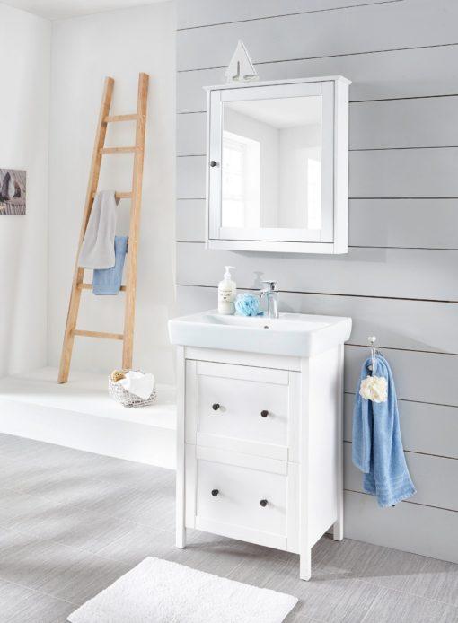 Biała szafka z lustrem, sosnowa, prowansalska