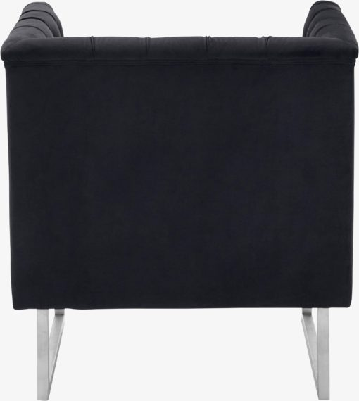 Ekskluzywny, czarny fotel ze srebrnymi nogami, glamour