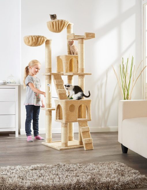 Duży drapak dla kota, legowiska, domki, zabawki, drabinki
