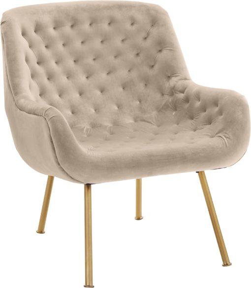 Ekskluzywny, tapicerowany fotel ze złotymi nogami