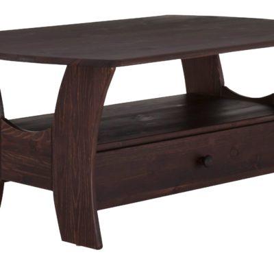 Uroczy stolik kawowy z szufladką, sosnowy, kolonialny