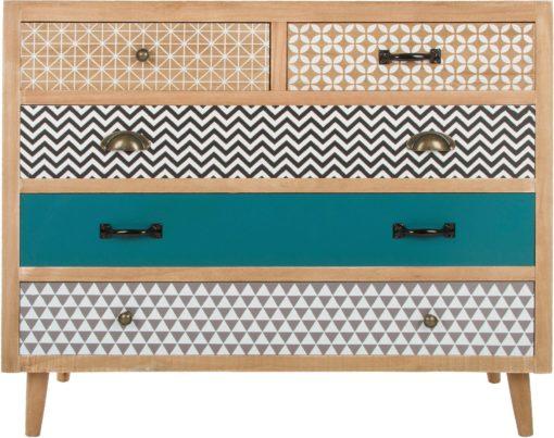 Komoda w stylu retro z kolorowymi frontami szuflad