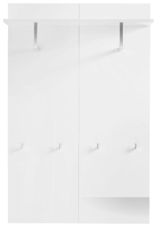 Funkcjonalny wieszak panelowy z półką, biały połysk