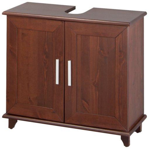 Sosnowa szafka pod umywalkę w prostym, klasycznym stylu