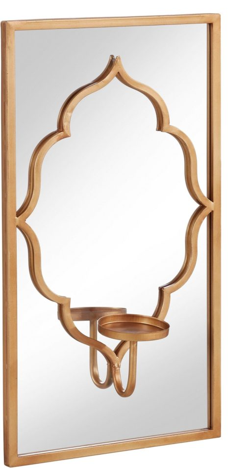 Złoty świecznik z lustrem na ścianę, styl orientalny