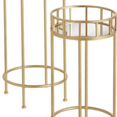 Zestaw dwóch metalowych, złotych stolików z lustrzanymi blatami