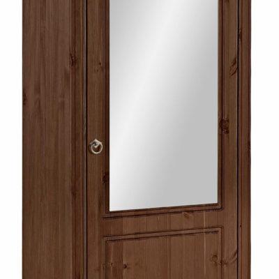 Duża szafa na buty z sosny, drzwi z lustrem, kolonialna