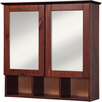 Drewniana szafka łazeinkowa z lustrem, w ciemnym kolorze