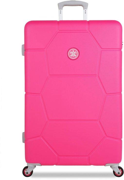 Stylowa, twarda walizka z zamkiem szyfrowym, hot pink