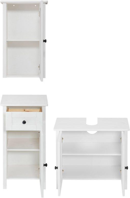 Białe meble łazienkowe z sosny: szafka wisząca, stojąca i pod umywalkę