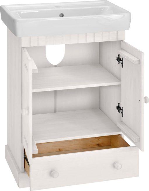Sosnowa szafka pod umywalkę z ceramiczną umywalką, biała