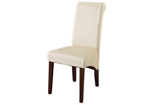 Eleganckie, beżowe krzesła, sztuczna skóra, drewno bukowe - 2 sztuki