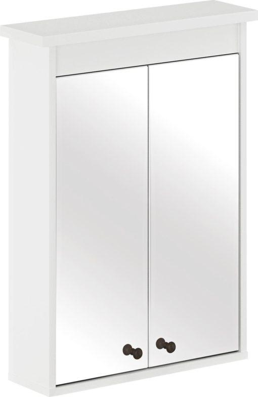 Biała szafka łazienkowa z lustrem na drzwiach